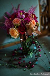 peach, purple and pink brides bouquet